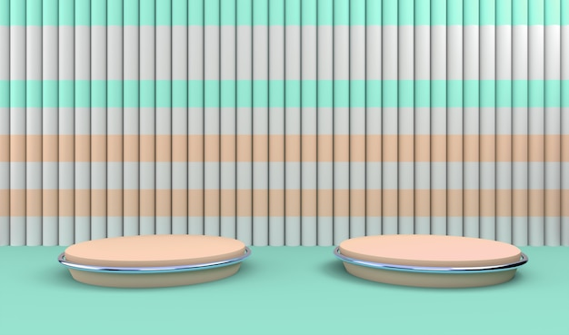 Podiums in abstract striped composition