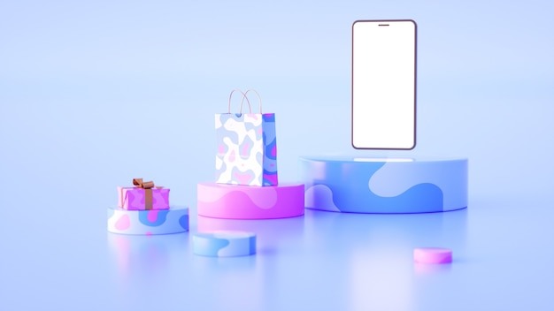 Podiums of different sizes in bluepink colors over which a phone with a white screen hangs