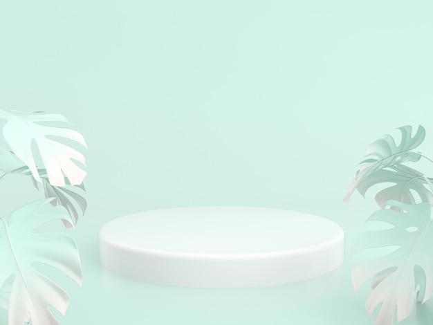 Подиумы для демонстрации продукции с зеленым фоном и пальмовыми листьями