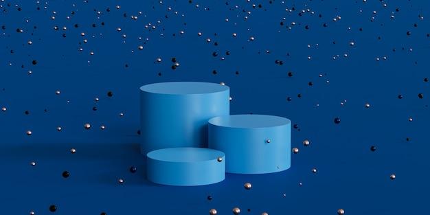 파란색 배경에 반짝이는 구체가 있는 제품 디스플레이 또는 광고용 연단 또는 받침대, 3d 최소 렌더