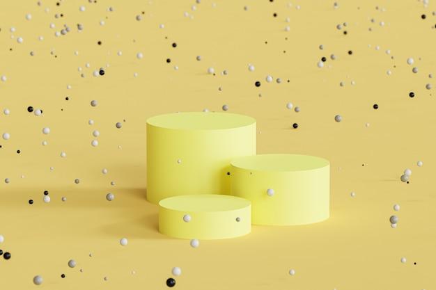 노란색 배경에 반짝이는 구체가 있는 제품 디스플레이 또는 광고용 연단 또는 받침대, 3d 최소 렌더
