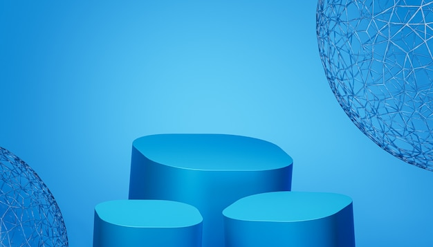파란색 배경, 3d 렌더링에 제품 또는 광고를 위한 연단 또는 받침대
