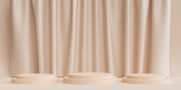 製品の表彰台または台座、またはカーテン付きのニュートラルベージュの背景の広告、最小限の3dイラストレンダリング