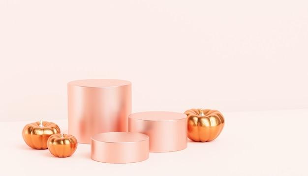 가을 방학을 위한 제품 전시 또는 광고를 위한 황금 호박이 있는 연단 또는 받침대, 3d 렌더