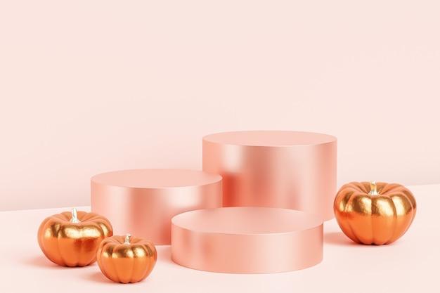 제품 전시를 위한 황금 호박이 있는 연단 또는 받침대, 분홍색 배경의 가을 휴가 광고, 3d 렌더