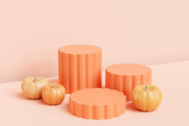 베이지색 배경, 3d 렌더에서 가을 휴가를 위한 제품 전시 또는 광고를 위한 호박이 있는 연단 또는 받침대