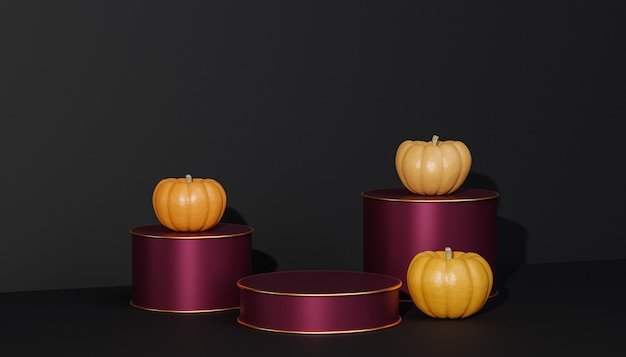 제품 전시를 위한 호박이 있는 연단이나 받침대는 검은색 배경에 가을 방학을 위한 광고, 3d 렌더