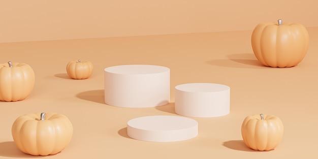 Подиумы или постаменты с тыквами для демонстрации продуктов или рекламы осенних праздников на оранжевом фоне, 3d визуализация баннера