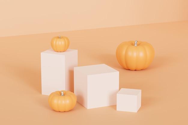 Подиумы или постаменты с тыквами для демонстрации продуктов или рекламы осенних праздников на оранжевом фоне, 3d визуализация