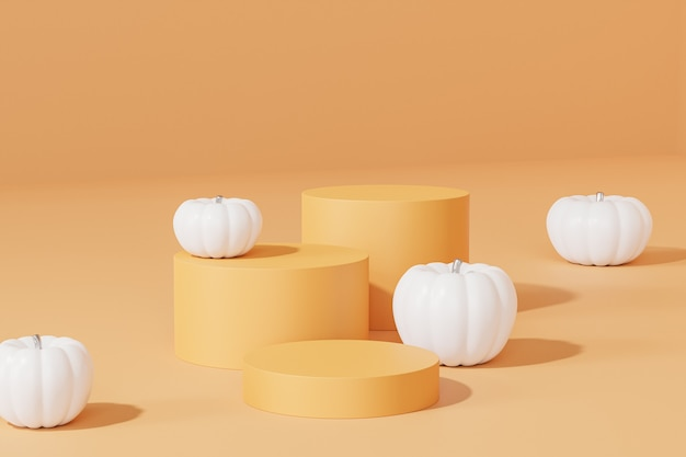 Подиумы или пьедесталы с белыми тыквами для демонстрации продуктов или рекламы осенних праздников на оранжевом фоне, 3d визуализация