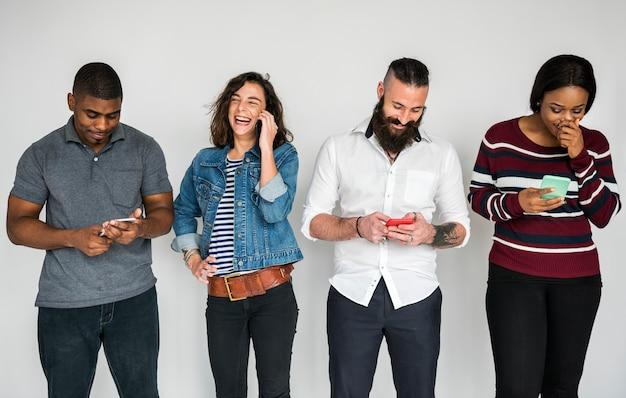 Poeple using smartphones