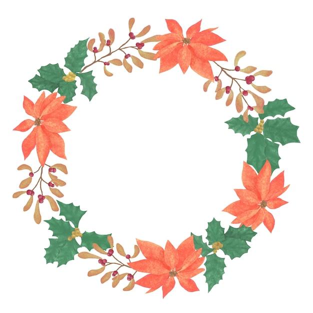 ポインセチアの花輪手描きイラスト、ストックロゴタイプ、白い背景に設定された秋の花輪