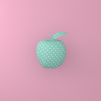 Point pattern white on green apple on pink background. minimal idea food concept.