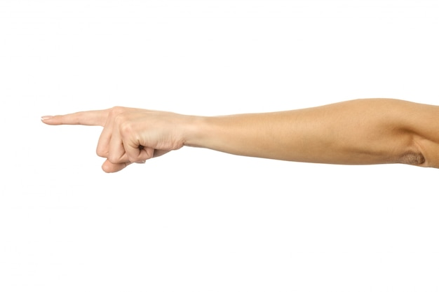 Pointing left. woman hand gesturing isolated on white