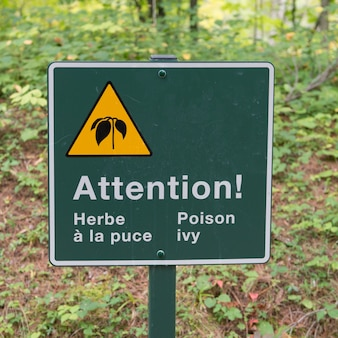 Poison ivy warning sign in a forest, manoir-papineau national historic site, montebello, quebec, can