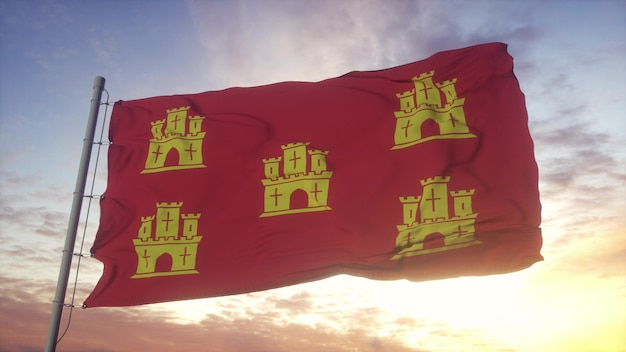Poitou flag, france, waving in the wind, sky and sun background. 3d rendering