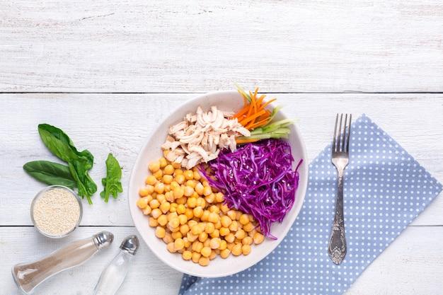 Сковородка с нутом, паровой курицей, капустой, морковью и огурцом