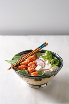 Poke bowl with salmon
