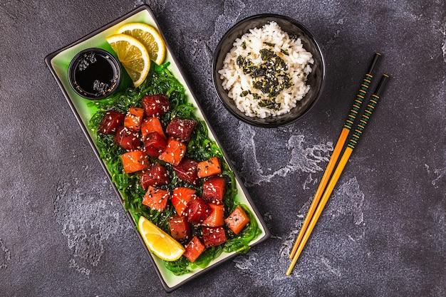 Poke traditional hawaiian raw fish salad