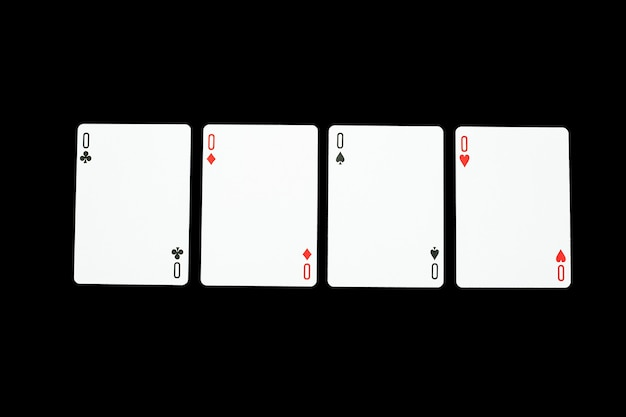 Poker casino playing cards. poker of zero