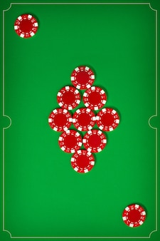 The poker chips on green wall