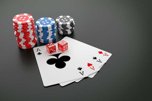 Poker chips, playing cards and casino dice on table