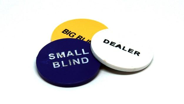 Poker dealer small and big blind chips