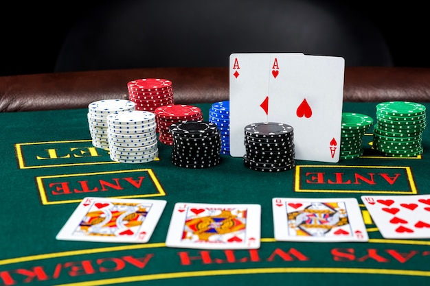 Poker play. chips and cards