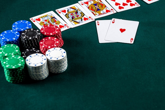 Poker play chips and cards