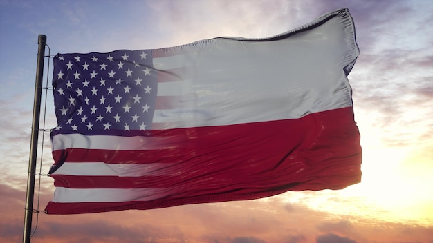 깃대에 폴란드와 미국 국기입니다. 바람에 물결 치는 미국과 폴란드 혼합 된 깃발