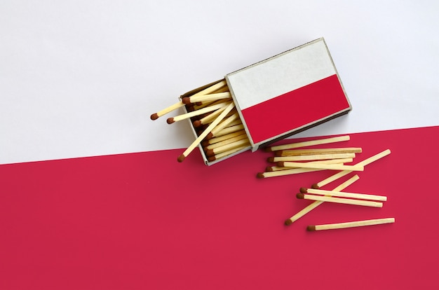 Poland flag  is shown on an open matchbox, from which several matches fall and lies on a large flag
