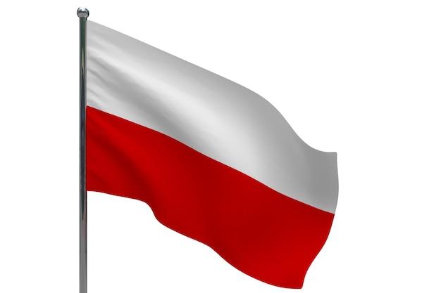 Флаг польши на шесте. металлический флагшток. национальный флаг польши 3d иллюстрации на белом