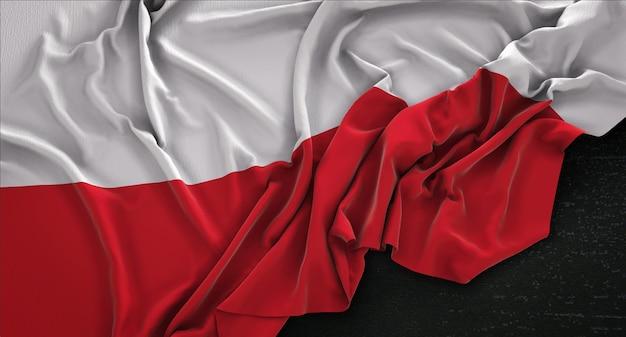 Флаг польши, сморщенный на темном фоне 3d render