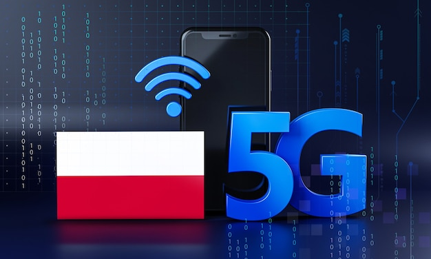 Poland ready for 5g connection concept. 3d rendering smartphone technology background