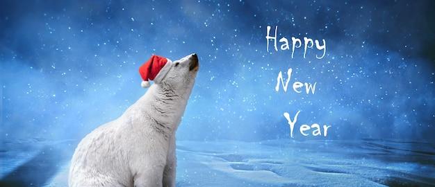 Белый медведь в рождественской шапке, снежинках и небе. зимний пейзаж с надписью «с новым годом», панорамное изображение.