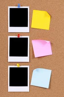 Polaroid photos next to sticky notes
