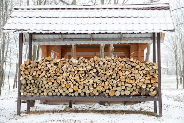 冬の自然の中で薪のポール