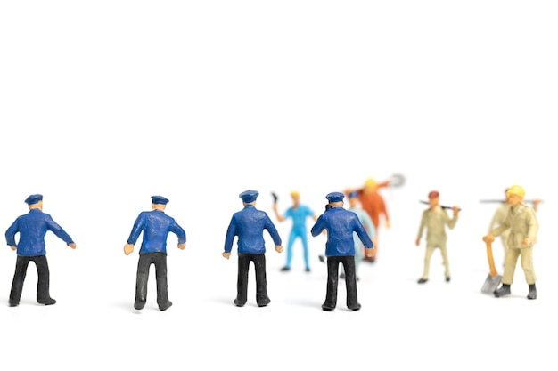 Police and an angry mob on white background
