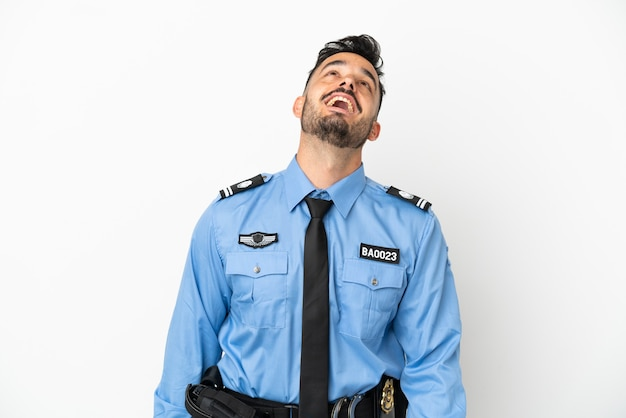 웃 고 흰색 배경에 고립 된 경찰 백인 남자
