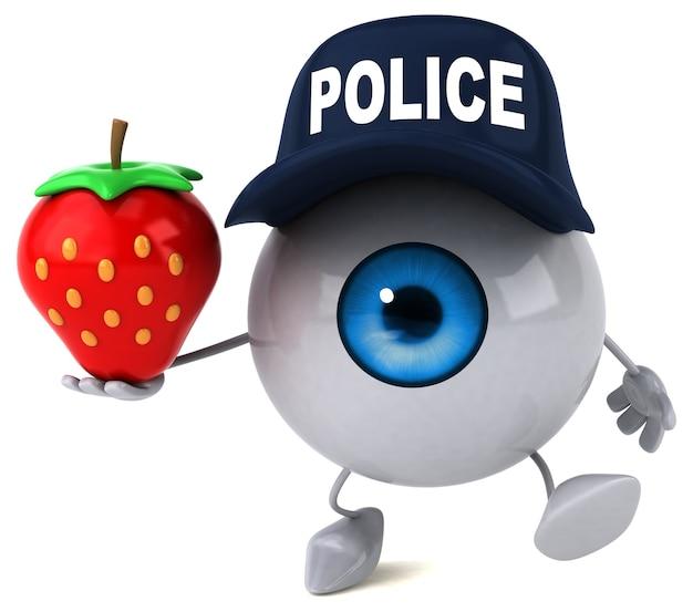 Police eye with strawberry
