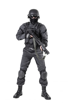 Police officer with shotgun