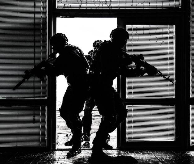Специальная тактическая группа полицейских сил по борьбе с наркотиками или борьбы с терроризмом взламывает дверь и входит в здание во время выдачи ордера на обыск и арест или операции по спасению заложников, ненасыщенный, высокая контрастность