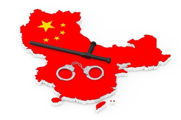 경찰 상태 개념입니다. 흰색 바탕에 중국 국기와 지도 위에 검은색 고무 경찰 지휘봉이나 나이트스틱이 달린 금속 수갑. 3d 렌더링