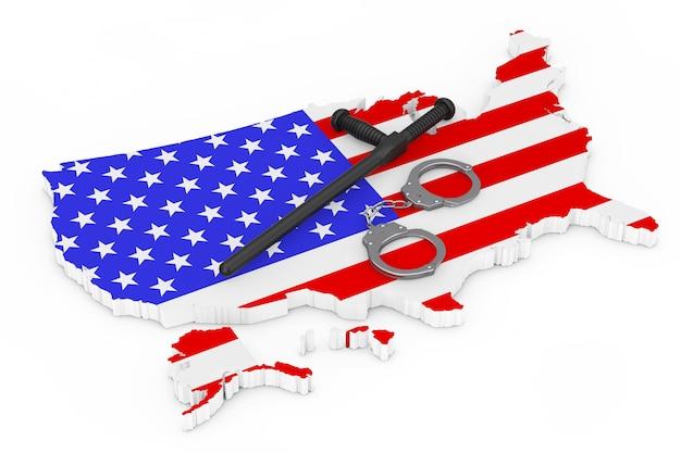 경찰 상태 개념입니다. 흰색 바탕에 미국 국기와 지도 위에 검은색 고무 경찰 지휘봉이나 나이트스틱이 달린 금속 수갑. 3d 렌더링