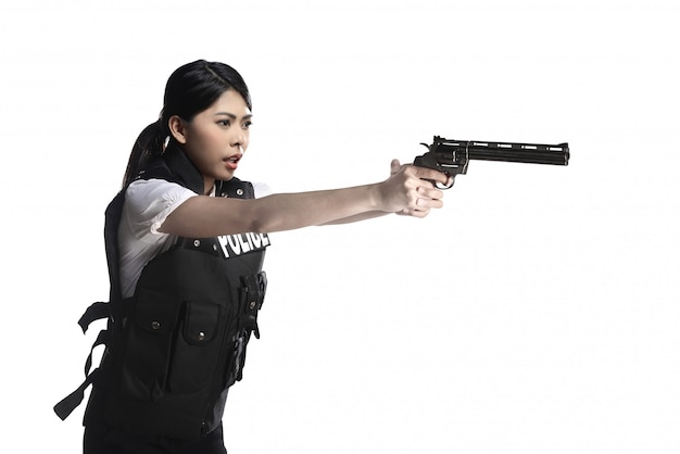 Police woman hold revolver gun
