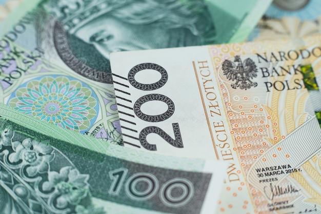 Polish banknotes close up
