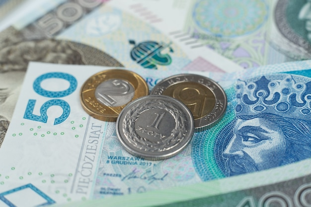 Polish coins on the banknotes