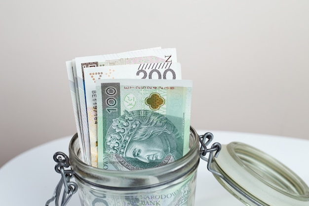 Polish currency in the jar
