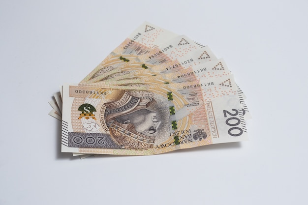 Polish currency on the table