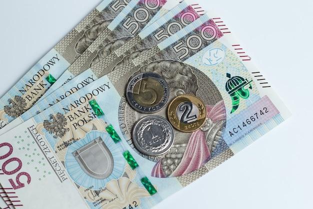 Polish money on the table
